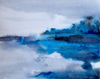Icy Blue Reflection. Original Watercolor Abstract Painting. 9x12 Unframed Art w Blue, Black, White. *add quote or saying*