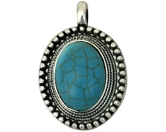 1 Silver Turquoise Pendant 35x24mm by TIJC SP1420