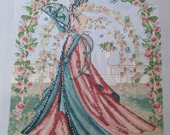 Completed Cross Stitch with Beads - Art Deco Lady