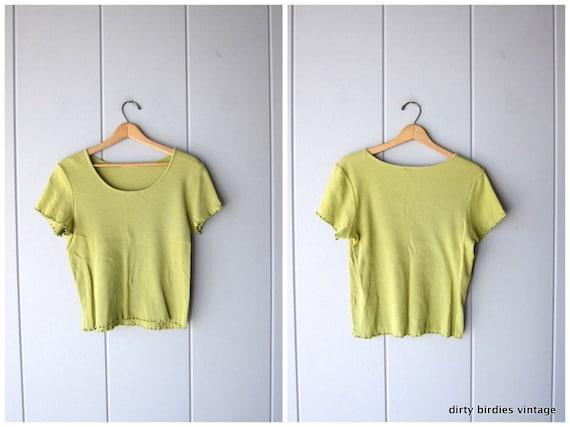 Chartreuse Green Ribbed Shirt 90s Short Sleeve Top Vintage Basic Spring Tee Minimal Rib Shirt Preppy Modern Knit Tee Womens Medium Large