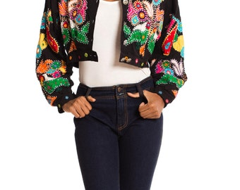 Vintage 1980s Fly Girl Indian Embroidered Jacket with Mirrors    Size: XS/S/M