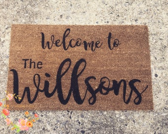 Custom Family Door Mat, Wedding gift, Housewarming gift, Home Decor, Welcome Door Mat, Personalized