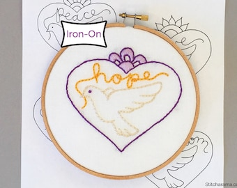 Doves Embroidery Pattern • Iron On Transfer