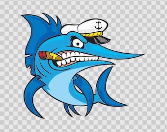 Decals Sticker Captain Marlin Atv Weatherproof Hobbies Fishing Fisherman 05904