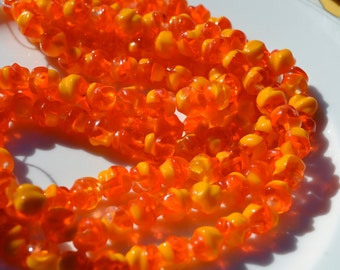 Very Bright Orange and Marigold Yellow Baroque Round Czech GLass Beads  25
