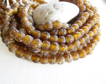 Round ochre glass beads,  rustic yellow brown lampwork beads, matte  gritty textured aged look  indonesian 8mm - 9mm (16 beads)  6bb27-4