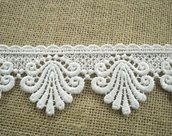 Lace edging synthetic, hoops, white color, width 6 cm