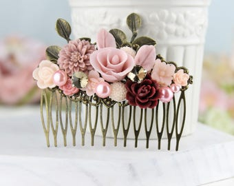 Rose Pink Blush Pink Burgundy Hair Accessory, Woodland Country Chic Comb, Bridesmaids Gifts, Maroon Mauve Comb, Winter Fall Wedding