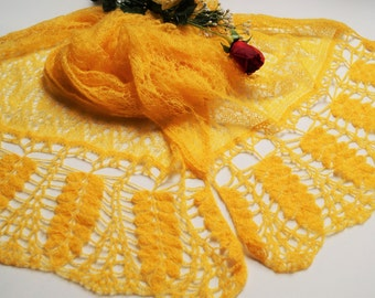 Yellow Shawl, Mohair Shawl,Wool Shawl,Party Shaw,Handmade Shawl ,Party Dress ,Knitted Shawl,Wedding Accessories,Wedding Shawl