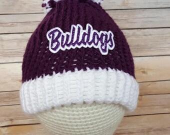 Bulldogs Hat, Purple Bulldogs Hat, East Knox Hat, EK Bulldogs Hat, Knit Purple Bulldogs Hat, Knitted East Knox Bulldogs Hat