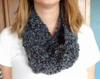Hand-knit Infinity Scarf//Gray/Grey//Chunky Infinity Scarf//Christmas Gift