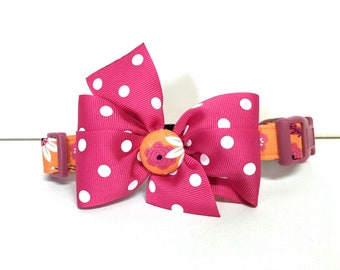 Dog Collar- The Orange and Pink Floral- Collar with removable bow