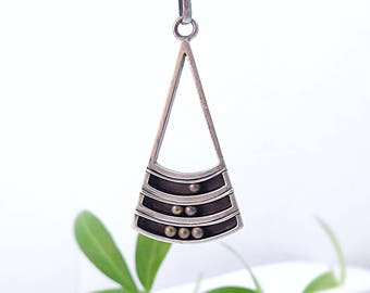 Sterling Silver Pendant Kinetic Pendant Necklace Teardrop Pendant Triangle Pendant Mothers Day Gift Ideas Handmade Pendant Silver Necklace