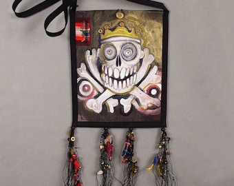 Crowned Skull with Crossed Bones - a small bag,