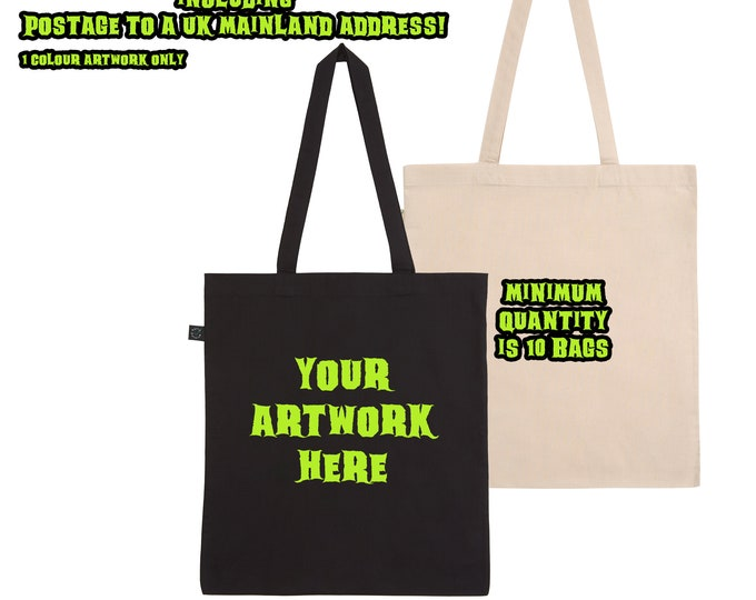 custom screen printed tote bags - your design printed on a high quality tote bag - minimum quantity of 10