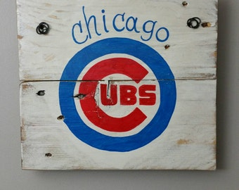 Chicago Cubs hand painted sign on reclaimed wood