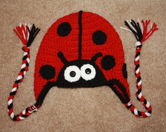 Crochet Ladybug beanie with braids. Ladybug hat with braids. Handmade to order.