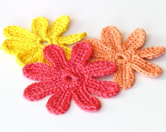 Crocheted Flower Tutorial, PDF Crocheted Flowers Pattern, DIY Flower