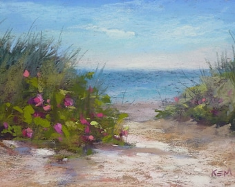 Beach Dune SEASCAPE with roses 5x7  New England Seashore Karen Margulis