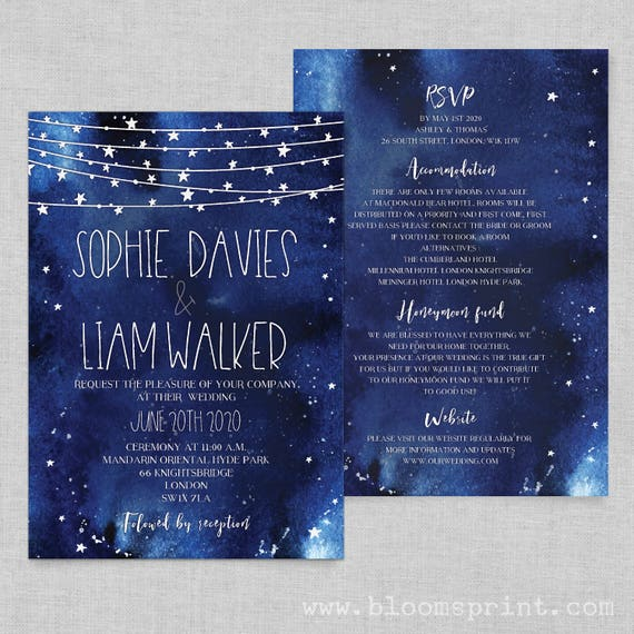Navy blue wedding invites, Starry night wedding invitations printable, Stars wedding invite navy, Night sky wedding invitation template, A5