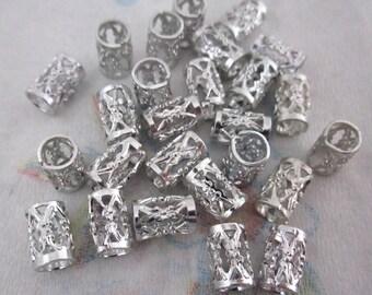 50 pcs. vintage silver tone aluminum filigree tube beads 8x5mm - f4463