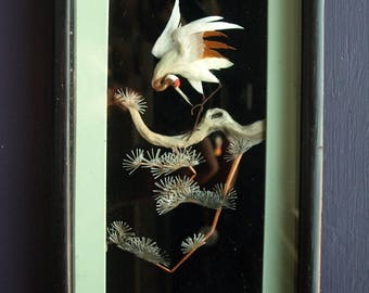 Asian 3D Feather Art Shadow Box of Heron on Branch – Stamped