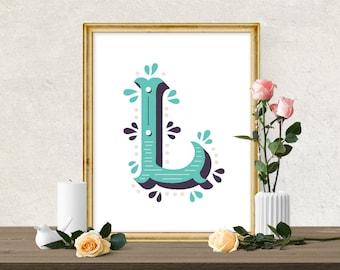 "Decorative Letter ""L"" Alphabet Printable | Monogrammed Lettering Print | Nursery, Wedding, Gift, Wall Art INSTANT Print | 5x7 8x10 11x14"
