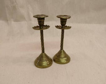 "Vintage Brass Candle Sticks, Candle Holders, 7"" tall"