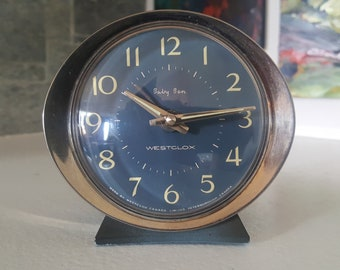 Vintage 1960s Westclox Baby Ben Alarm Clock - Blue and Chrome - Perfect Working Order - Mid Century - Travel Alarm Clock - Adjustable Ring