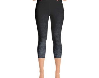 Capris Leggings Ombre High Waist Gray and Black Cropped Yoga Pants, Women's Grunge Leggings
