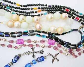 Five Vintage Beaded Lot, Necklace Destash, For wear and reassembly Supplies, upcycle jewelry, repair or repurpose boho chic chunky grab bag