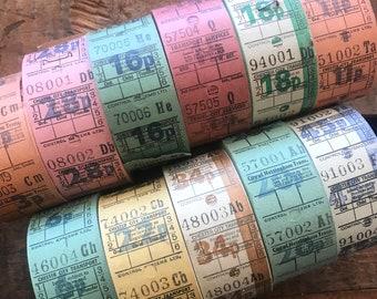 Vintage British Bus Tickets - Set of 55 - Vintage Tickets, Vintage Paper Ephemera, Vintage Bus Tickets, Old Tickets, Junk Journal Tickets