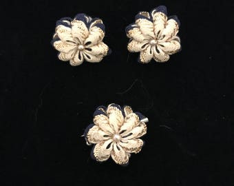 Vintage Ric Rac Ribbon Floral Brooch and Earring Set