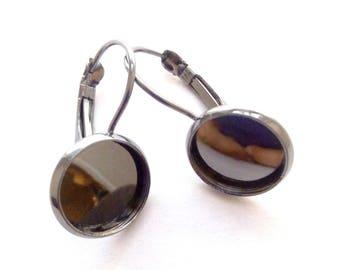 1 pair of medium earrings 12mm Gunmetal Silver tone Cabochon.