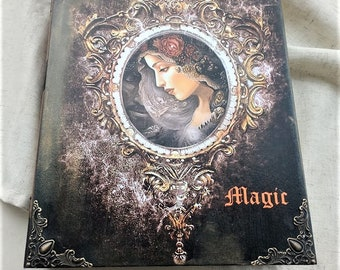 Decoupage magic box,Book of shadows, Spell book,  Witch book, Wizard book, Book of magic,  spell journal,magic book,magicbox,decoupage book