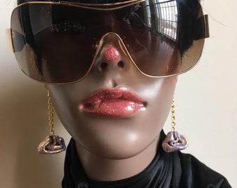 Gold and lavender earrings chain earrings art earrings modern art earrings clay earrings handmade earrings trendy earrings chained earrings
