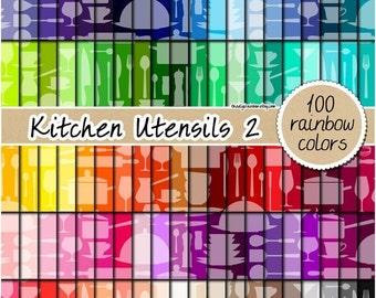 SALE 100 kitchen digital paper utensils kitchenware digital paper rainbow digital scrapbooking kit pattern pack 12x12 pastel neutral bright