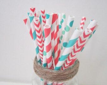 Aqua Coral Paper Straws ~ Party ~ Wedding ~ Shower