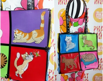Ridiculous Vintage 90s 00s Embroidered Cat Bad with Colorful Squares of Kitty Heaven!