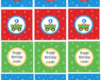 TRAIN CUPCAKE TOPPERS/ Printable Personalized Birthday Party Circles or Squares/ Matching Invitations, Water Bottle Labels, Favor Tags