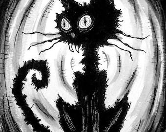 """Drucken 8 x 10""""- schwarze Katze 6 - Halloween Katzen streunende Spuk Alley dunkel Kunst Haustiere hübsch gruselig gotische Kunst Schwarzweiß Kitty"""