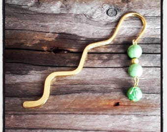 gold charm bookmark green beads