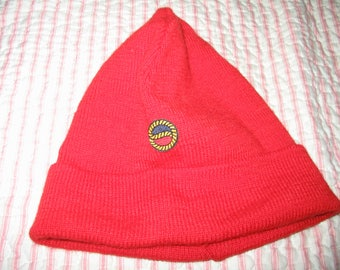 Wool beanie burnt orange winter cap France Jacques Cousteau