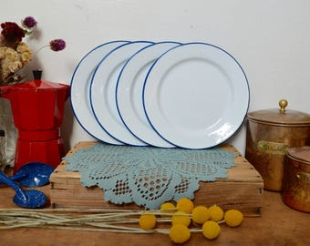 4 Blue and White Vintage Enamel Plates Speckled Enamelware Camping Small