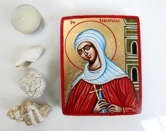 Saint  Sebastiana mini icon, original handpainted keepsake icon 5 by 4 inches