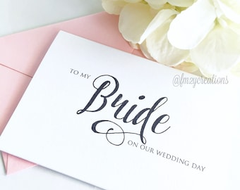 Bride Wedding Thank You Cards | To My Bride on Our Wedding Day Card | Bride Card | Wedding Day Card