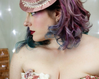 Womens Boater Hat in Rose Silk - Victorian Values