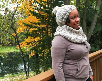 Knit Hat - Knit Beanie - Beanie with Pom - Knit Cowl - Hat/Cowl Set - Winter - Fall Fall - Women's Fashion - All Ages