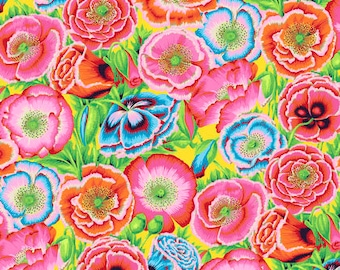 1/2 yard Poppy Garden in Red fabric designed by Philip Jacobs PJ095 Spring 2018