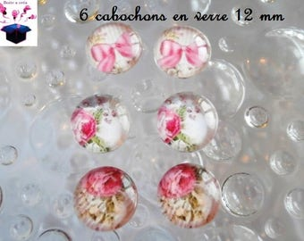 6 glass cabochons 12 mm for loop matching number 16